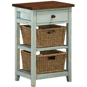 Tuscan Retreat 2 Basket Stand - Sea Blue