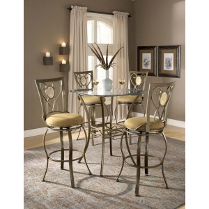 Brookside 5pc Bistro Set w Oval Back Barstools