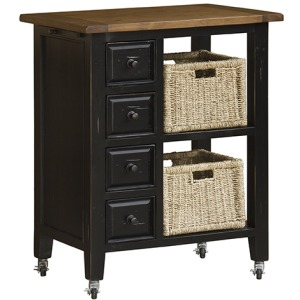 Tuscan Retreat™ 2 Basket Kitchen Cart - Black