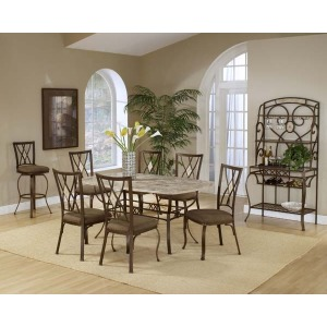 Brookside 7pc Rectangle Set w/ Diamond Chairs