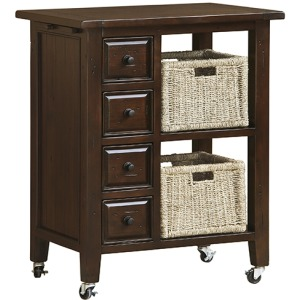 Tuscan Retreat 2 Basket Kitchen Cart - Rustic Mahogany
