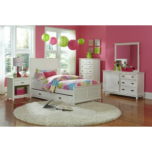 Bailey 4pc Twin Bedroom Suite with Trundle - White