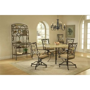 Brookside 5pc Round Set w/ Oval Caster Chairs