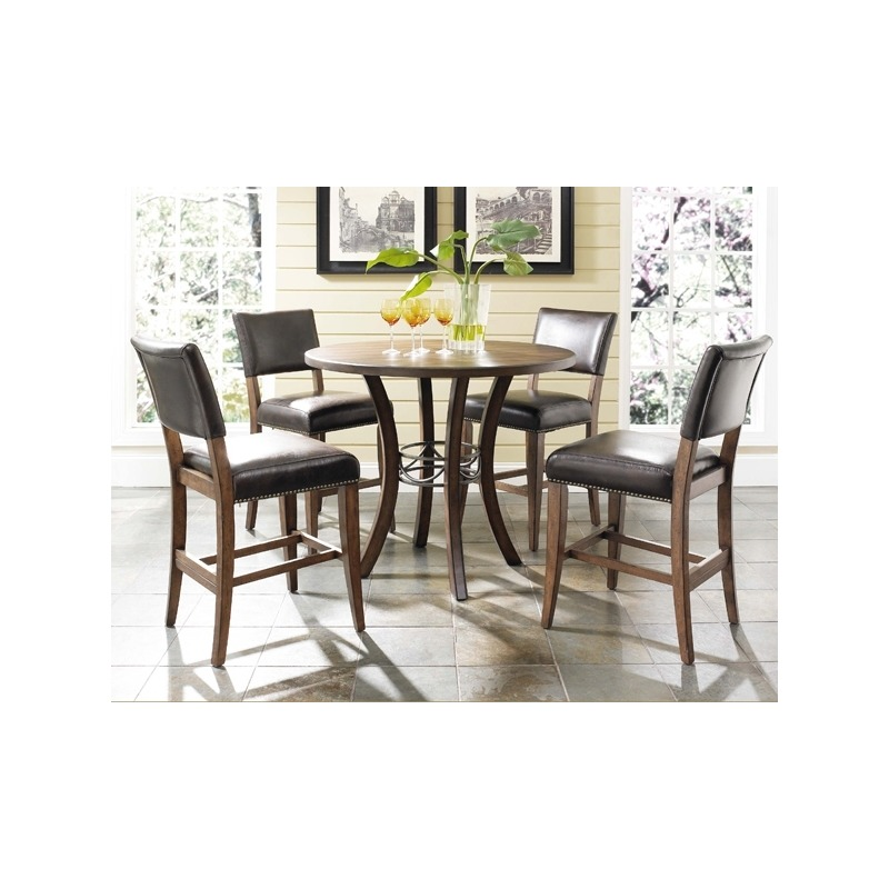 Cameron 5pc Counter Height Round Wood Dining Set with Parson Stools