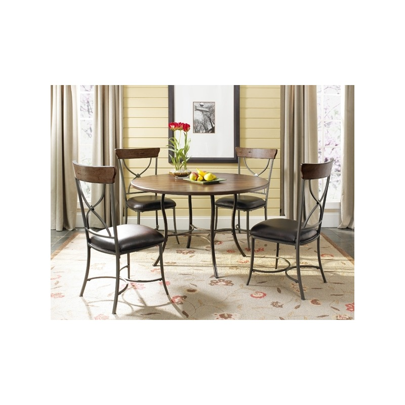 Amazing Cameron 5Pc Round Dining With All Metal Base Table With Wood Beatyapartments Chair Design Images Beatyapartmentscom