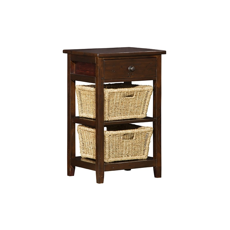 Tuscan Retreat 2 Basket Stand - Rustic Mahogany