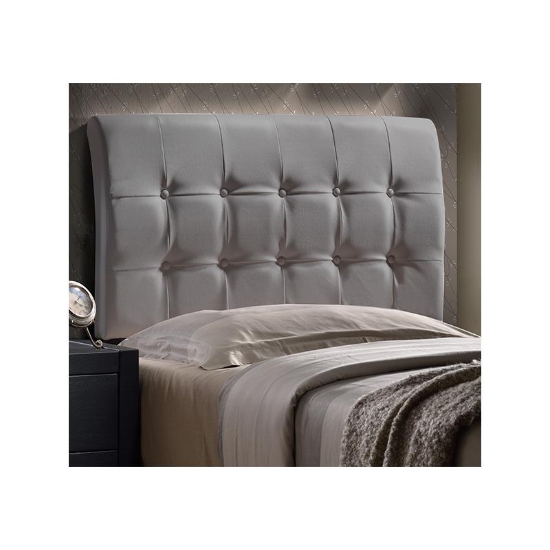 Lusso Headboard Twin Gray Pu Faux Leather By Hilale
