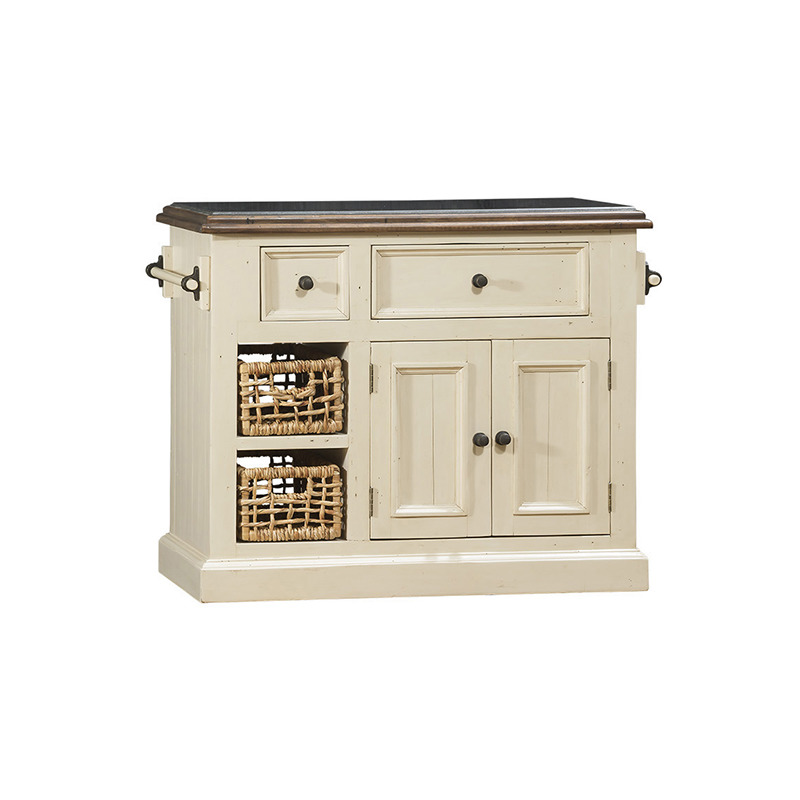 Tuscan Retreat Medium Granite Top Kitchen Island with 2 Baskets - Country White with Antique Pi