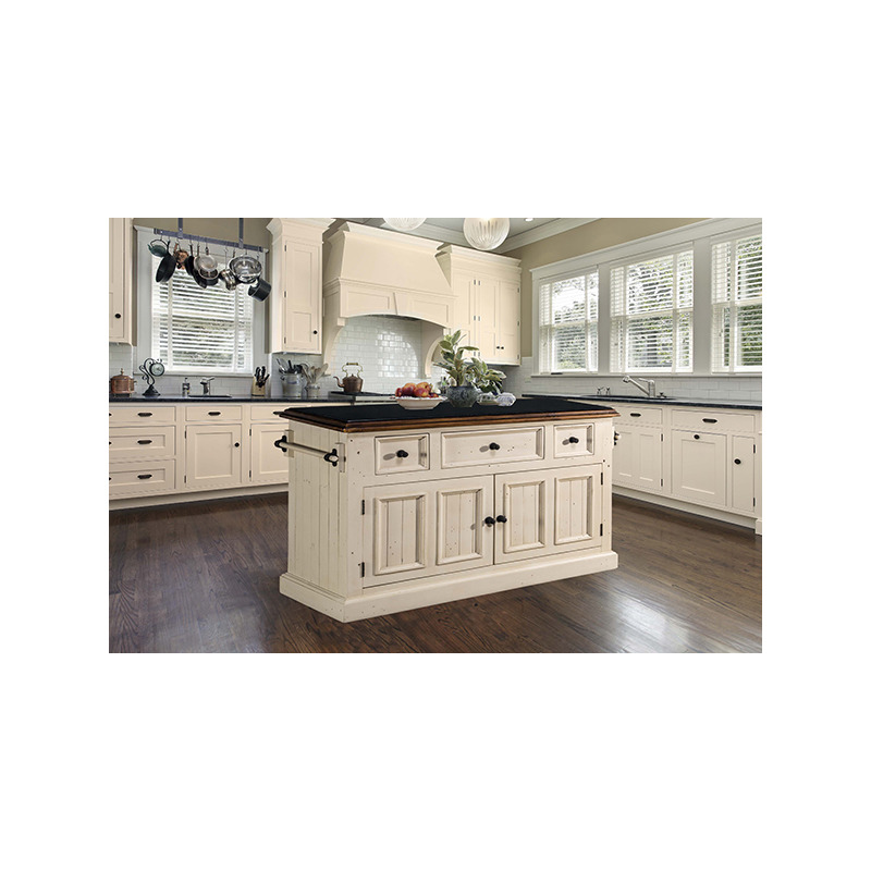 Tuscan Retreat 3 Drawer 4 Door Large Granite Top Kitchen Island - Country White with Antique Pi