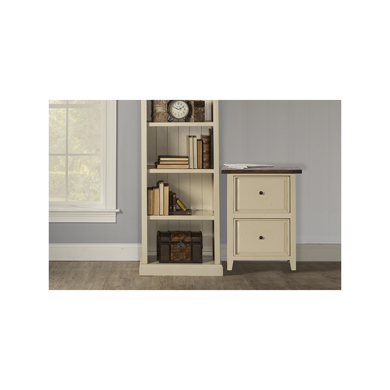 Tuscan Retreat Small File Cabinet - Country White with Antique Pine Top