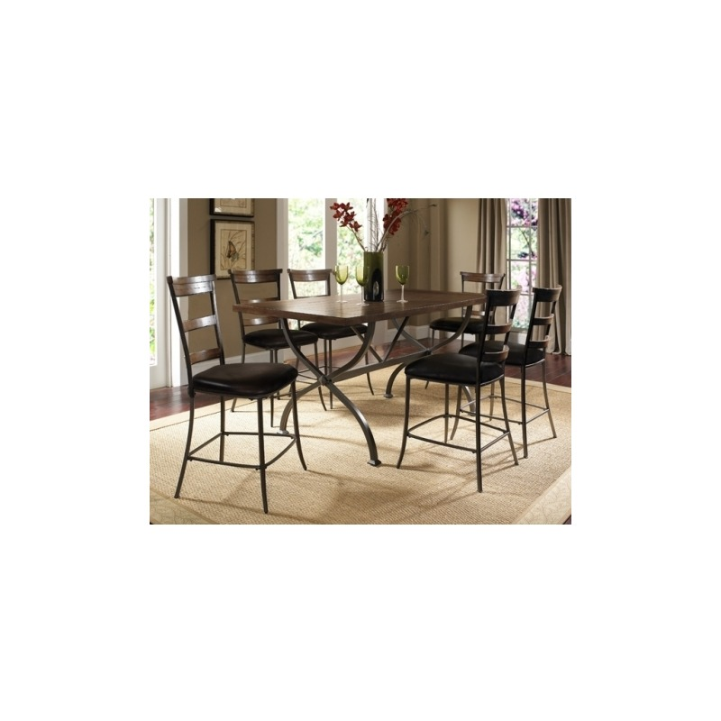 Cameron 7pc Counter Height Rectangle Wood Dining Set with Ladderback Stools