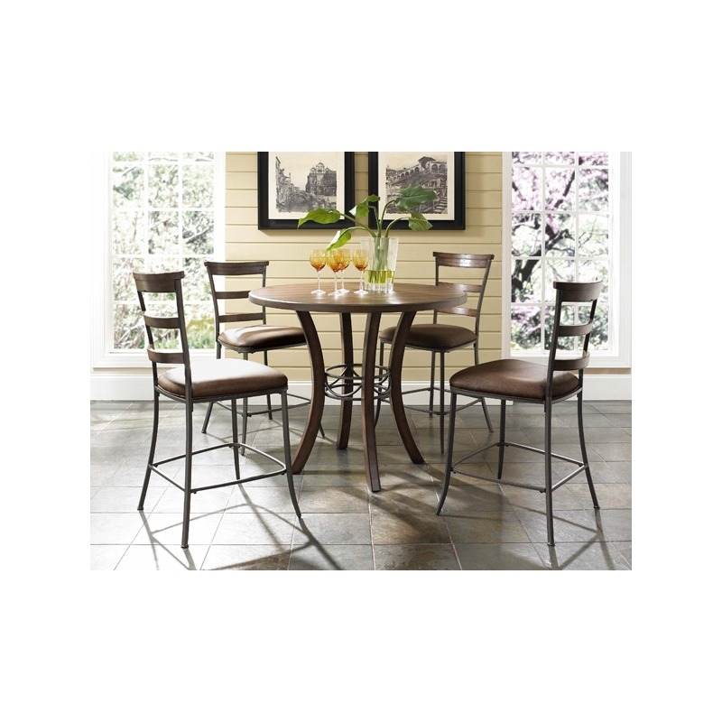 Cameron 5pc Counter Height Round Wood Dining with Ladder Back Stools