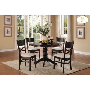 5-Piece Pedestal Dinette Set Table: 42Dia x 30H Chair: 18.75 x 20.5 x 36H