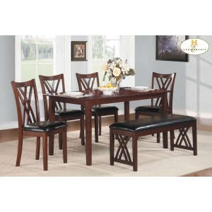 6-Piece Pack Dinette Set Table : 35.5 x 60 x 30H Chair : 18 x 20.75 x 38H Bench : 46 x 16.5 x 19H