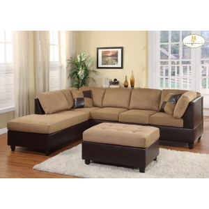 COMFORT LIVING COLLECTION REVERSIBLE CHAISE BROWN