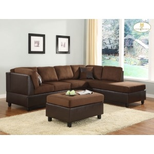 COMFORT LIVING COLLECTION REVERSIBLE CHAISE CHOCOLATE
