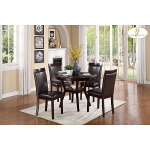 5-Piece Pack Dinette Set Table: 42Dia x 30H Chair: 18 x 20.5 x 37.5H