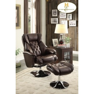 Swivel Reclining Chair with Ottoman Chair: 32 x 35.5 x 43H Ottoman: 19.75 x 19 x 18H
