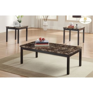 3-Piece Occasional Tables, Faux Marble Top Cocktail Table: 48 x 24 x 16H End Table:: 22 x 20 x 21H