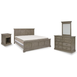 Walker King Bed, Nightstand and Dresser with Mirror