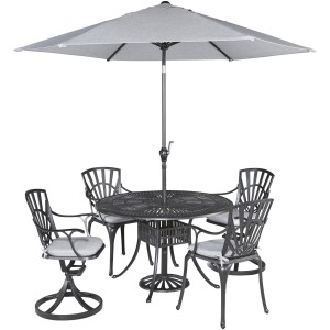 Grenada 5 Piece Outdoor Dining Set with Umbrella and Cushions