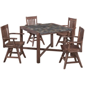 Stone Harbor 5 Piece Dining Set with 4 Swivel Chairs