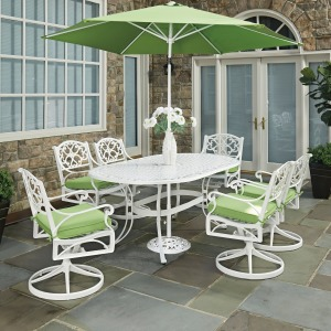 Sanibel 9 Piece Outdoor Dining Set with Umbrella and Cushions