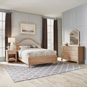 Claire Queen Bed, Nightstand and Dresser with Mirror