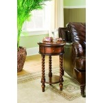 14in. Inlay Top Round Accent Table