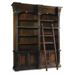 Hooker Furniture Home Office European Renaissance II Double Bookcase w/Ladder and Rail