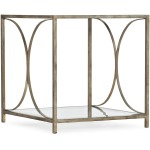 Novella Wavecrest Metal and Glass End Table Silhouette