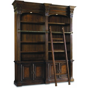 Double Bookcase w/ Ladder & Rail