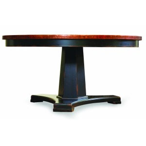 Hooker Furniture Dining Room Sanctuary 60 in. Round Pedestal Dining Table - Ebony & Copper