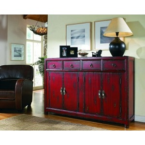 58in. Red Asian Cabinet