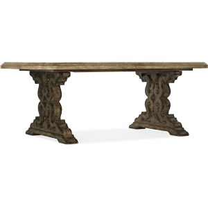 La Grange Le Vieux 86in Double Pedestal Table w/2-18in Leaves