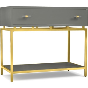 Happily Gray One-Drawer Leg Nightstand