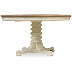"Sunset Point Pedestal Dining Table with One 18"" Leaf"