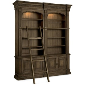 Hooker Furniture Home Office Rhapsody Double Bookcase with Ladder and Rail