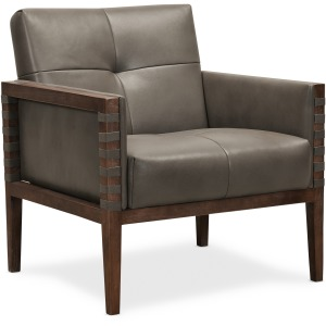Carverdale Leather Club Chair w/Wood Frame