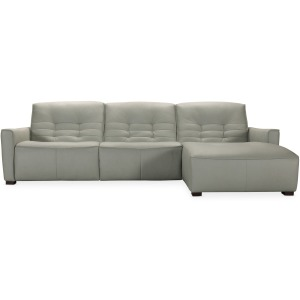 Reaux Power Recline Sofa w/ RAF Chaise w/2 Power Recliners