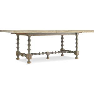 Ciao Bella 84in Trestle Table w/ 2-18in Leaves-Flaky White/Gray