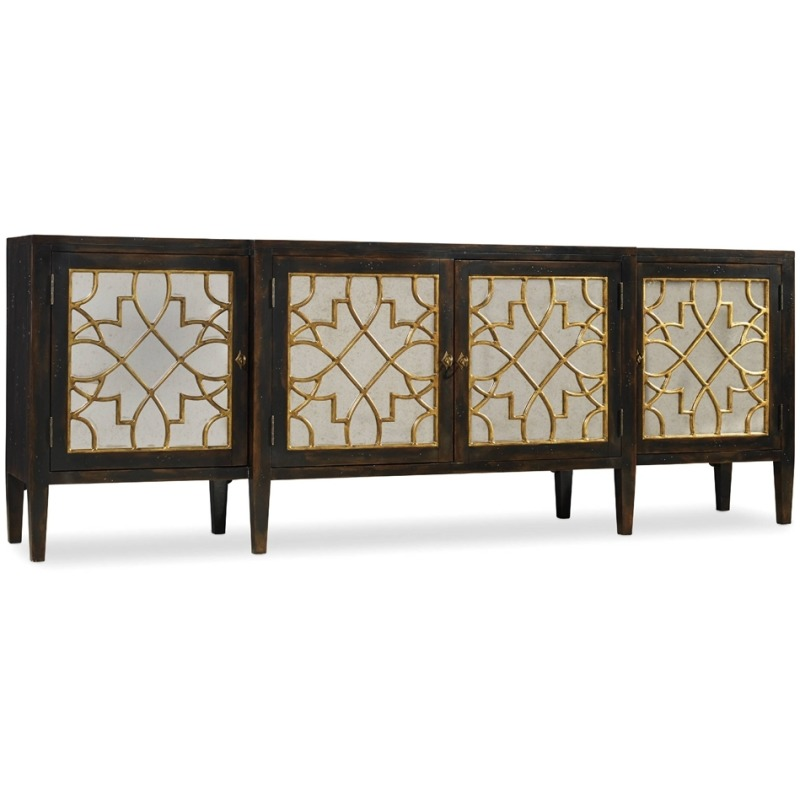 Furniture Sanctuary Four Door Mirrored Console- Ebony