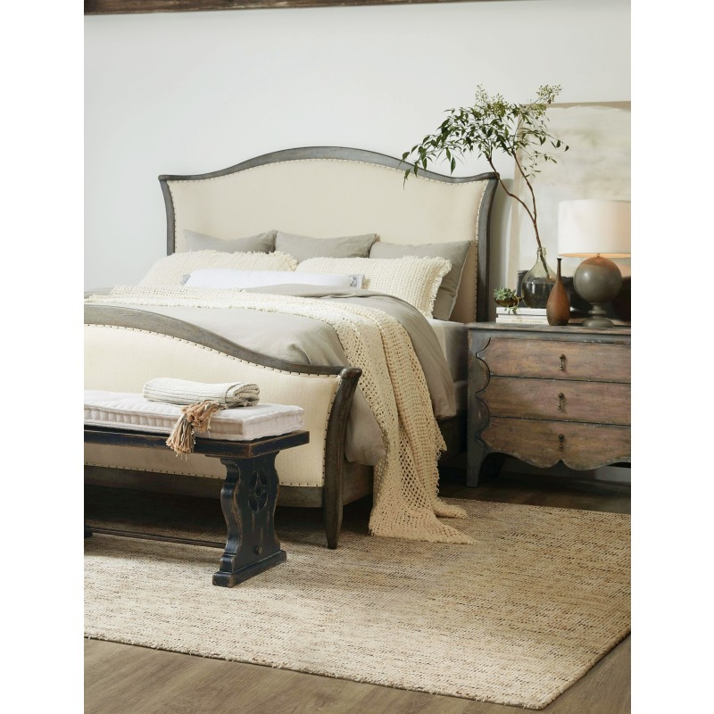 Ciao Bella Queen Upholstered Bed- Speckled Gray Room
