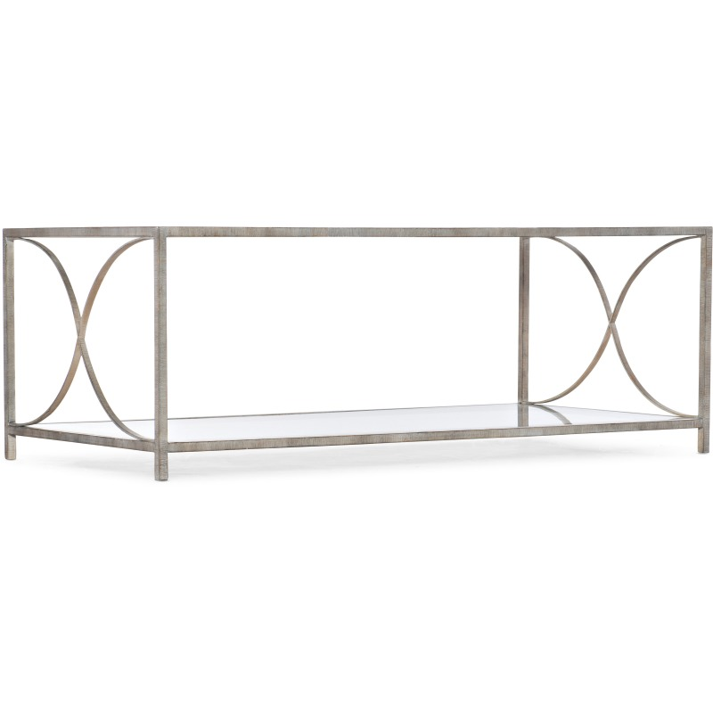 Novella Wavecrest Metal and Glass Cocktail Table Silhouette
