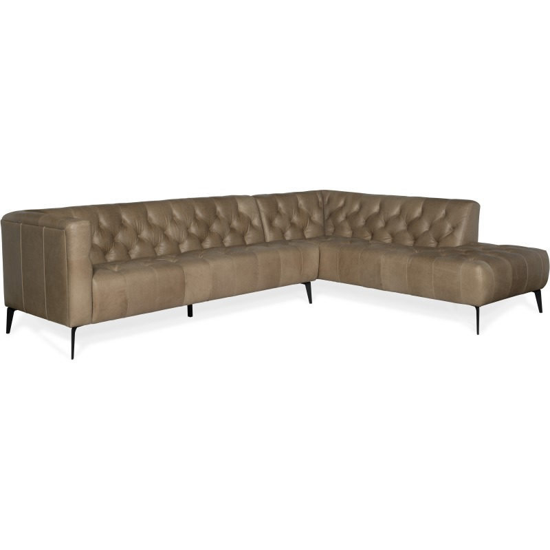 Nicolla Right Bumper Leather Stationary Sectional Silhouette