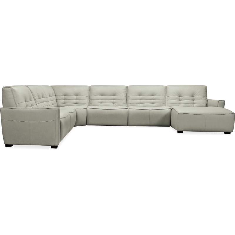 Reaux Grandier 6-Piece RAF Chaise Sectional w/ 2 Recliners Silhouette
