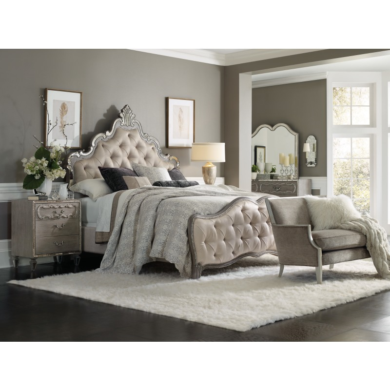 Sanctuary Upholstered King Panel Bed Room
