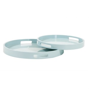 Light Blue Lacquer Round Wood Tray Set