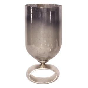 Blue-Gray Antiqued Hurricane Glass Holder - Large