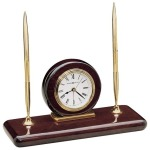 Rosewood Desk Set Clock
